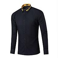 Masculino Camisa Social Casual Simples Primavera Outono,Xadrez Azul Rosa Vermelho Branco Preto Roxo Algodão Colarinho de CamisaManga