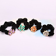 South Korea Crystal Flowers Flannelette Twist Horsetail Hair Circle Rope Head Hair Blended Hair 5pcs
