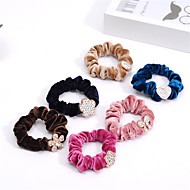 South Korea Water Diamond Head Trim Velvet Hair Ring Rope Rope Rope With a Drill Bit Mixed With Flowers 10pcs