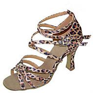 baratos Sapatilhas de Dança-Mulheres Sapatos de Dança Latina / Sapatos de Jazz / Sapatos de Salsa Cetim / Courino Sandália / Salto Lantejoulas / Presilha Salto