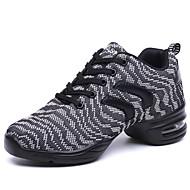 baratos Sapatilhas de Dança-Mulheres Tênis de Dança Tecido Têni Sem Salto Não Personalizável Sapatos de Dança Cinzento Escuro / Vermelho Escuro / Espetáculo