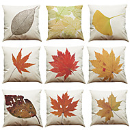 "Set of 9 Decorative Printed Linen Modern BotanicalCushion Cover (18""*18"")"