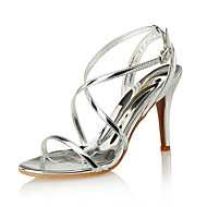 cheap -Women's Shoes Leather / Synthetic Spring / Summer Club Shoes Sandals Stiletto Heel White / Black / Silver / Wedding / Party & Evening