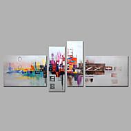 Handgeschilderde Abstract Elke vorm,Modern Vier panelen Canvas Hang-geschilderd olieverfschilderij For Huisdecoratie