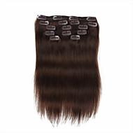 7 개는 / 붙임 머리에 세트 # 4 중간 갈색 chocalate 갈색 클립은 100 % 인간의 머리를 18 인치 14inch