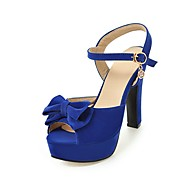 cheap Women's Shoes-Women's Shoes Fleece Summer Comfort Ankle Strap Sandals Walking Shoes Chunky Heel Peep Toe Bowknot Buckle for Wedding Party & Evening