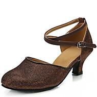 billige Moderne sko-Dame Sko til latindans Paljett Sandaler Tykk hæl Kan ikke spesialtilpasses Dansesko Gull / Sølv / Mørkebrun