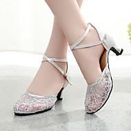 billige Moderne sko-Dame Moderne Blonder Glimtende Glitter Paljett Kunstlær Semsket lær Syntetisk Joggesko Høye hæler Ytelse Paljett Gummi Spenne Blondesøm