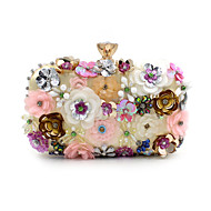 Women S Bags Polyester Evening Bag Imitation Pearl Crystal Rhinestone Flower Fl Print Rainbow Wedding
