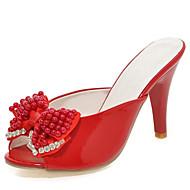 Sandálias-Chanel Sapatos clube-Salto Agulha-Preto Rosa Vermelho Branco-Couro Envernizado-Casamento Social Festas & Noite