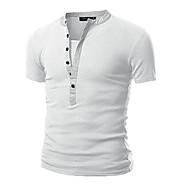 Langærmet Rund hals Medium Herre Hvid Sort Grå Grøn Ensfarvet Forår Efterår Simpel Afslappet/Hverdag T-shirt,Bomuld