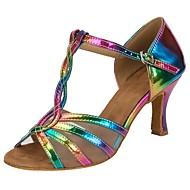 baratos Sapatilhas de Dança-Mulheres Sapatos de Salsa Courino Sandália / Salto Presilha / Fru-Fru Salto Personalizado Personalizável Sapatos de Dança Arco-íris