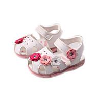 Para Meninas Bebê Sandálias Conforto Couro Ecológico Primavera Verão Outono Casual Conforto Apliques Rasteiro Branco Azul Rosa claro