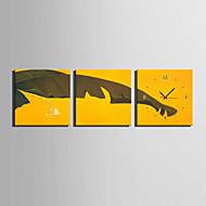 Moderne / Nutidig Andre Veggklokke,Kvadrat Lerret40 x 40cm(16inchx16inch)x3pcs/ 50 x 50cm(20inchx20inch)x3pcs/ 60 x