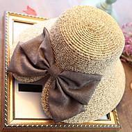 Mulheres Férias De Palha Chapéu de sol Sólido