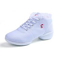 cheap Dancewear & Dance Shoes-Women's Dance Sneakers Fabric Heel Outdoor Stitching Lace Chunky Heel White Black Red Non Customizable