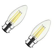 2pcs 4w b22 / e27 ledフィラメント電球c35 4cob 300-400 lm暖かい白のdimmable ac 220-240 / 110-130 v