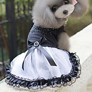 Gato Cachorro Vestidos Roupas para Cães Algodão Primavera/Outono Verão Fofo Princesa Branco-Preto Para animais de estimação