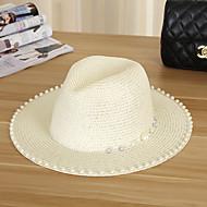สำหรับผู้หญิง สีพื้น วันหยุด - หมวกสาน / ดวงอาทิตย์หมวก / ฤดูร้อน