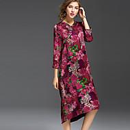 Χαμηλού Κόστους REVIENNE BAY®-Γυναικεία Βίντατζ Κινεζικό στυλ Εξόδου Σε γραμμή Α Ως το Γόνατο Φόρεμα Φλοράλ Κοντομάνικο Λαιμόκοψη V