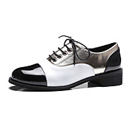 נשים נעליים PU אביב קיץ נוחות נעלי אוקספורד עקב עבה חסום את העקב בוהן עגולה עבור קזו'אל שמלה לבן ורוד