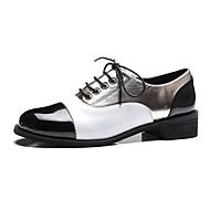 Feminino Sapatos Couro Ecológico Primavera Verão Conforto Oxfords Salto Robusto Salto de bloco Ponta Redonda Para Casual Social Branco