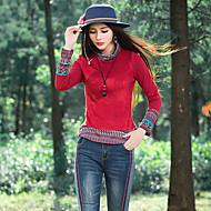 Feminino Camiseta Casual Feriado Vintage Temática Asiática Primavera Outono,Sólido Bordado Algodão Linho Gola Alta Manga Longa Fina Média