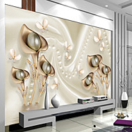 Art Deco Wallpaper For Home Wall Covering Canvas Adhesive Required Mural White Background Relief lily Atmosphere Solemnly Elegant Back XXXL(448*280cm)