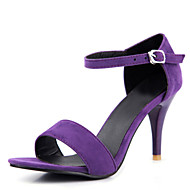 Women's Sandals Summer Club Shoes Velvet Office & Career Dress Casual Stiletto Heel Buckle Black Green Purple