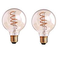 4W B22 E26/E27 フィラメントタイプLED電球 G80 1 LEDの COB 調光可能 温白色 400-500lm 2700-3500K 交流220から240 AC 110-130V