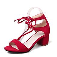 baratos Sapatos Femininos-Mulheres Sapatos Courino Primavera / Verão Conforto Sandálias Caminhada Salto Robusto / Salto de bloco Dedo Aberto Cadarço Preto / Bege /