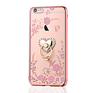 Kompatibilitás iPhone 8 iPhone 8 Plus tokok Strassz Galvanizálás Tartó gyűrű Hátlap Case Virág Puha Hőre lágyuló poliuretán mert Apple