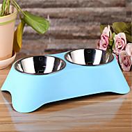ネコ 犬 餌入れ/水入れ ペット用 ボウル&摂食 防水 グリーン ブルー ピンク
