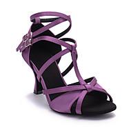 baratos Sapatilhas de Dança-Mulheres Sapatos de Dança Latina Cetim Sandália / Salto / Sola Inteiras Presilha Salto Carretel Personalizável Sapatos de Dança Vermelho