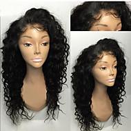 ieftine -Femei Peruci Păr Uman Brazilian Păr Natural Față din Dantelă Tresă Față Fără Lipici Densitate Cu Păr Bebeluș Creț Perucă Negru Jet Negru