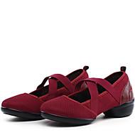 billige Dansesneakers-Dame Moderne sko Syntetisk Joggesko / Splitt såle Lav hæl Kan ikke spesialtilpasses Dansesko Svart / Rød