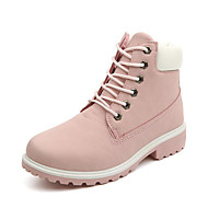 cheap -Women's PU(Polyurethane) Fall / Winter Novelty / Fashion Boots / Combat Boots Boots Walking Shoes Low Heel Round Toe Lace-up Green / Pink / Rainbow
