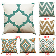Set of 6 Simple geometric pattern   Linen Pillowcase Sofa Home Decor Cushion Cover (18*18inch)