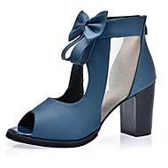 女性用 靴 PUレザー 春 / 夏 コンフォートシューズ ヒール チャンキーヒール / ブロックヒール オープントゥ / ピープトウ リボン ブラック / ブルー