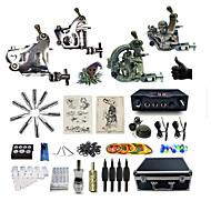 baratos kits profissionais do tatuagem-BaseKey Máquina de tatuagem Kit de tatuagem profissional - 3 pcs máquinas de tatuagem Fonte de Alimentação LED Capa Inclusa 2xMáquina Tatuagem de aço para linhas e sombras / 2 x máquina de tatuagem