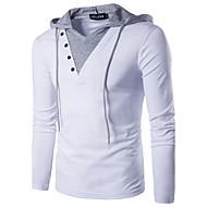 Hombre Activo / Chic de Calle Retazos - Algodón Camiseta, Con Capucha Delgado Un Color Blanco L / Manga Larga