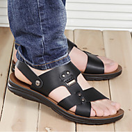 Masculino sapatos Couro Ecológico Primavera Verão Conforto Sandálias Para Casual Preto Marron Azul