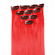 Neitsi 10pcs 18inch Colored Highlight Synthetic Clip on in Hair Extensions Red