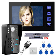 cheap Access Control Systems-Touch Key 7 Lcd RFID Password Video Door Phone Intercom System Kit Electric Strike Lock Wireless Remote Control unlock