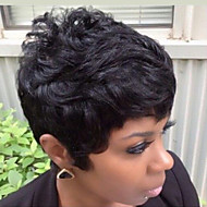Human Hair Capless Wigs Human Hair Natural Wave Pixie Cut With Bangs Short Machine Made Wig Women's
