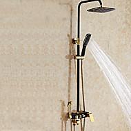 現代風 アールデコ調/レトロ風 センターセット 滝状吐水タイプ レインシャワー ハンドシャワーは含まれている 引出式スプレー with  セラミックバルブ シングルハンドル二つの穴 for  Ti-PVD , シャワー水栓