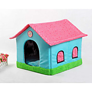 Cat Dog Bed Pet Baskets Patchwork Cartoon Soft Tent Beige Blue Blushing Pink