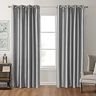 Rod Pocket Grommet Top Tab Top Double Pleat Pencil Pleat Two Panels Curtain Modern , Print Solid Bedroom Polyester Material Blackout