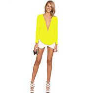 Dyb V Dame - Helfarve, Moderne Stil Bluse
