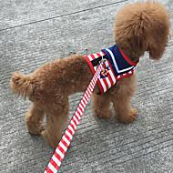 お買い得  犬用カラー/リード/ハーネス-ネコ 犬 ハーネス リード 調整可能 / 引き込み式 しつけ用品 ランニング 縞柄 スポンジ ファブリック レッド ブルー ピンク